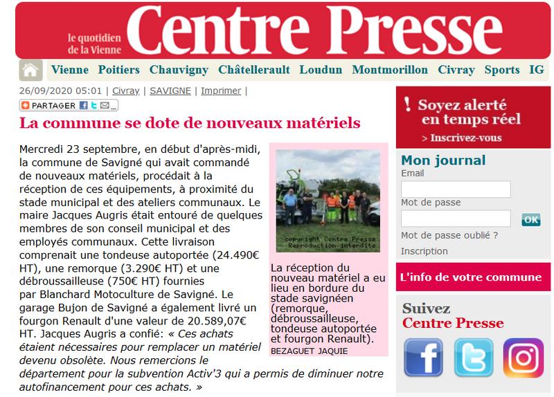 nouvelle republique centre presse kubota grillo savigné pressac saint romain blanchard motoculture